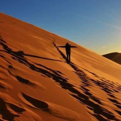 walking sunrise desert trip